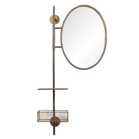 Lustro industrialne z koszykiem i okrągłym zwierciadłem to pomysł na praktyczne lusterko łazienkowe.