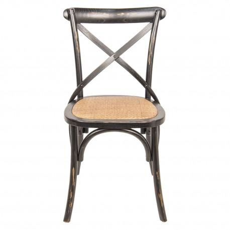 Krzesło w Stylu Prowansalskim Postarzane Czarne