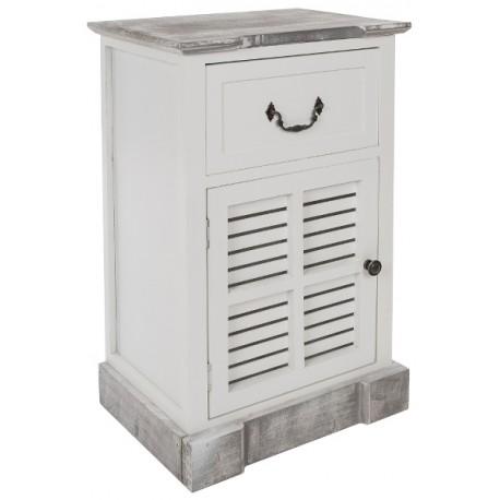 Postarzana szafka w stylu prowansalskim z drzwiami z drewnianymi żaluzjami i z bielonym blatem.