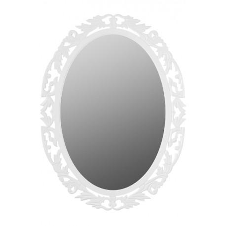Prowansalskie lustro z kolekcji Bianca ma białą, ażurową ramę.