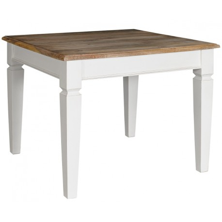 kwadratowy stół o białej podstawie i brązowym blacie