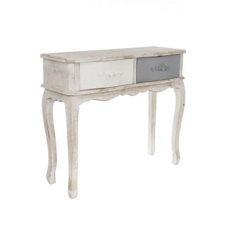Piękna i ciekawa konsola z kolorowymi szufladami to mebel wykonany z drewna. Konsola jest postarzona.