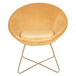 Krzesło w Stylu Skandynawskim Żółte na Złotych Nóżkach