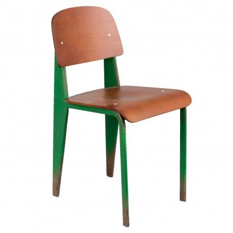 Krzesło w stylu retro oparte na stelażu z metalu w kolorze zielonym doskonale nadaje się do kuchni i do baru.