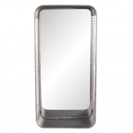 Prostokątne lustro w stylu industrialnym z pólką doskonale nadaje się do każdej łazienki.