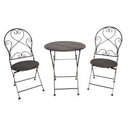 Meble Ogrodowe Czarne Prowanalskie Stolik z Krzesłami C
