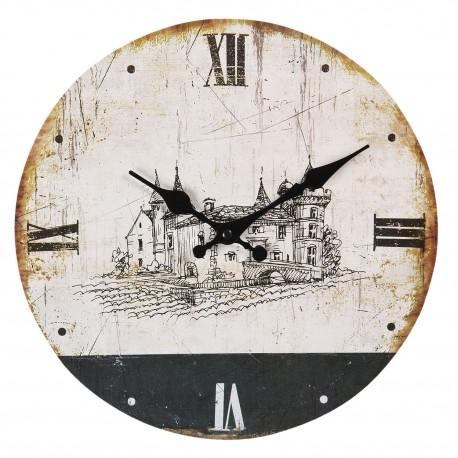 Okrągły zegar postarzany z grafiką w kolorze czarnym pasuje na każdą ścianę.