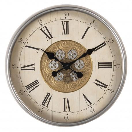Niezwykle kreatywny zegar w stylu industrialnym z tarczą na której znajdują się elemety imitacji drewna i koła mechaniczne.