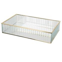 Szklany Pojemnik ze Złotymi Krawędziami Paski A