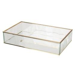 Szklany Pojemnik ze Złotymi Krawędziami Liście A