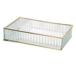 Szklany Pojemnik ze Złotymi Krawędziami Paski B