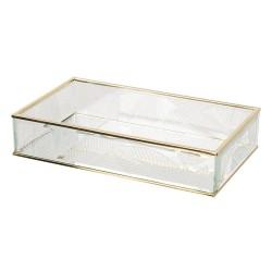 Szklany Pojemnik ze Złotymi Krawędziami Liście B
