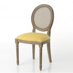 Krzesło Prowansalskie Medalion z Rattanowym Oparciem Żółte