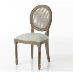 Krzesło Prowansalskie Medalion z Rattanowym Oparciem Niebieski