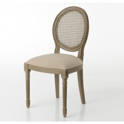 Krzesło Prowansalskie Medalion z Rattanowym Oparciem Beżowe