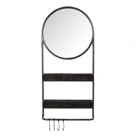 Duże lustro w stylu industrialnym wzbogacone o wieszaki na ubrania lub szale.