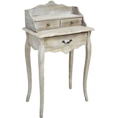 Sekretarzyk w stylu prowansalskim z szufladkami w różnym rozmiarze sprawdzi się w kobiecej sypialni.