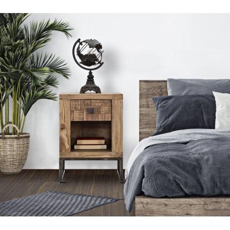 Szafka loftowa z kolekcji model Mumbai jak żaden inny mebel sprawdzi się w skandynawskiej i loftowej sypialni.