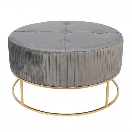Szara pufa w stylu glamour jest okrągła, stabilna i elegancka.
