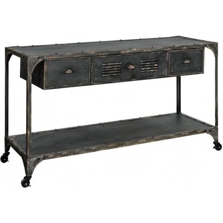 Czarna konsola wykonana z metalu posiadająca półkę i szufladki
