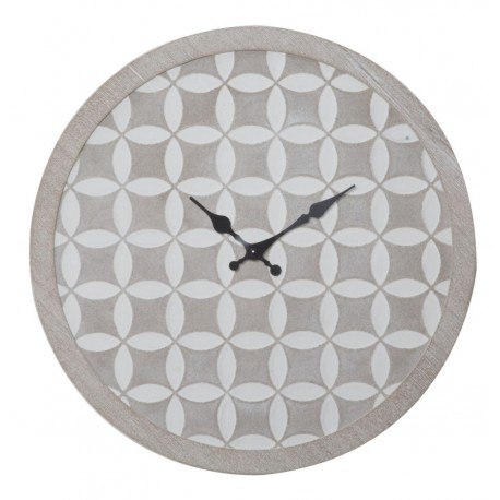 Hipnotyzujący zegar ścienny z geometryczną grafiką w kolorze białym na beżowym tle.