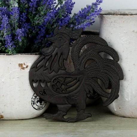 Oryginalna żeliwna podstawka pod garnek w kształcie koguta, posiadamy również inne motywy.