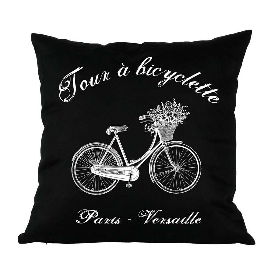 Czarna ozdobna poduszka marki French Home