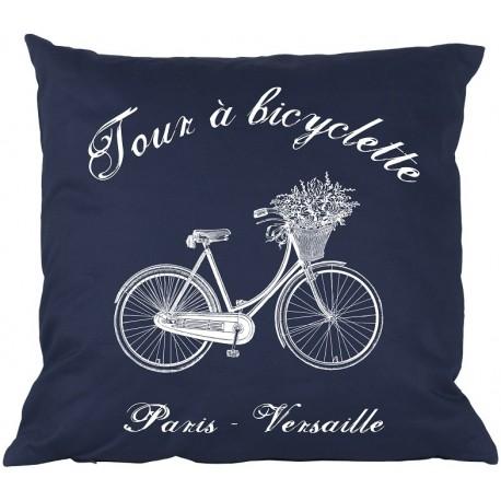 granatowa poduszka ozdobiona białym wzorem roweru