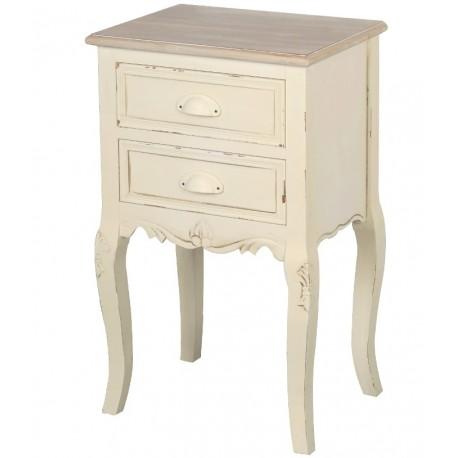 Kremowy stolik nocny na giętych nogach to atrakcyjny mebel, zarówno dzięki celowym przecierkom jak i kształtnej formie.