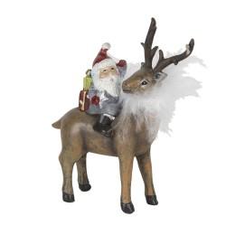Figurka Świąteczna Jeleń z Mikołajem Clayre & Eef