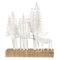 Dekoracja Świąteczna Metalowe Choinki Na Drewnie A Clayre & Eef