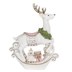 Figurka Świąteczna Biały Jeleń Clayre & Eef