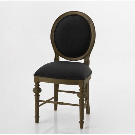 Krzesło w Stylu Prowansalskim Grafitowe Medalion B