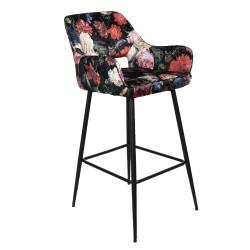 Krzesło Barowe w Kwiaty Tapicerowane