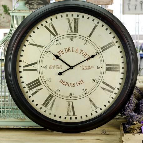 Duzy zegar retro z ciemną metalową ramą