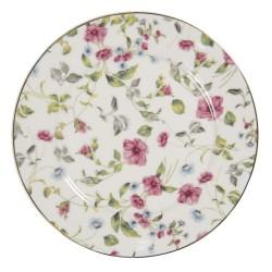 Porcelanowe Talerzyki Deserowe w Kwiaty A