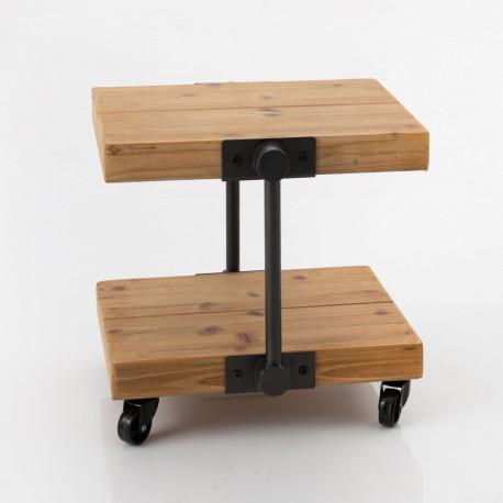 Stolik na kółkach z dwoma półkami to mebel, który sprawdzi się w roli mini regału lub szafki nocnej.