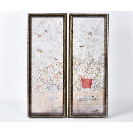 Obraz w stylu vintage w drewnianej ramie, która jest postarzana robi wrażenie i świetnie pasuje do każdego salonu.
