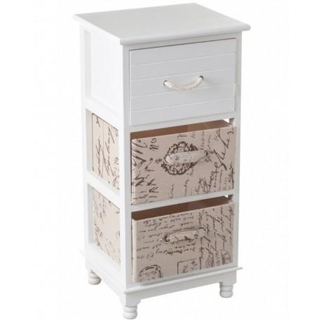 Brązowo- biała szafeczka z szufladkami