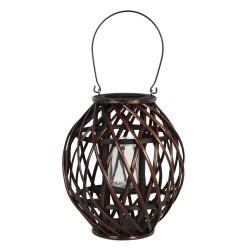 Drewniany Lampion Okrągły Brązowy G