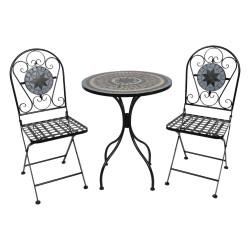 Meble Ogrodowe Prowanalskie Czarne Stolik z Krzesłami A