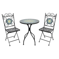 Meble Ogrodowe Prowanalskie Czarne Stolik z Krzesłami B