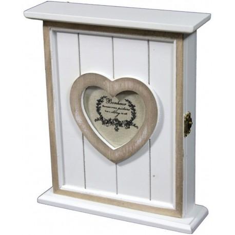 Drewniana szafeczka na klucze z serduszkiem.
