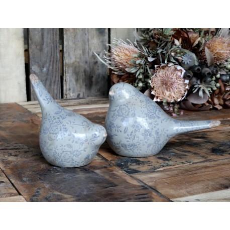 Ceramiczny Ptaszek Ozdobny Chic Antique W Niebieskie Kwiatki Melun B