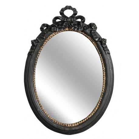 Owalne lustro belldeco z czarną dekoracyjną ramą